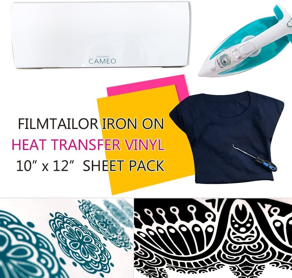Iron on for Silhouette Cameo Cricut Heat Press Machines. 10 x 12 Heat Transfer Vinyl Basic 5 Sheets Excellent for T-Shirt Aqua Marine FilmTailor PU HTV Hats and Any Fabric
