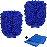 NO.1 Premium Wash Mitt, ShowTop 2 Packs Superfine Fiber Chenille Wash Glove Extral Large with FREE 23.6 Inch Towel Poloshing Cloth