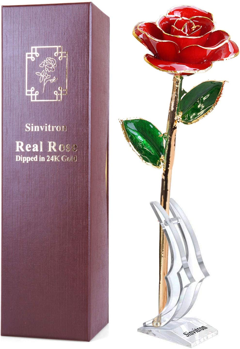 Amazon Com Gold Dipped Rose Sinvitron Long Stem 24k Gold Dipped Real Rose Lasted Forever With Stand Best Anniversary Gifts For Her Home Kitchen