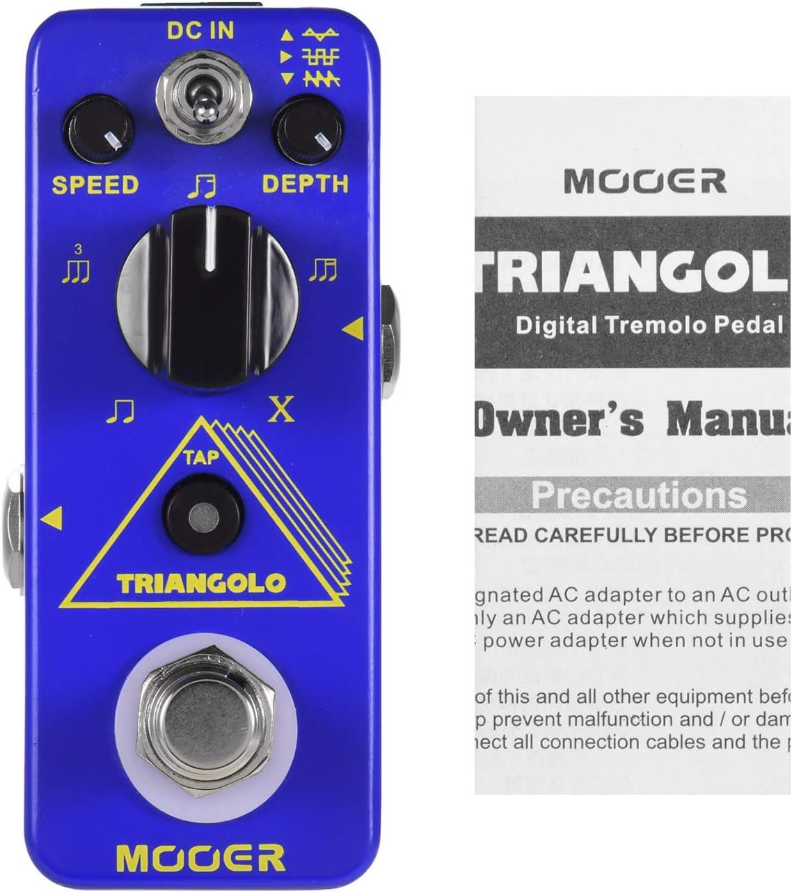 Muslady Mooer Pedal de Efecto de Guitarra Eléctrica Triangolo Pedal de Trémolo Digital True Bypass Serie Micro Pedal Compacto