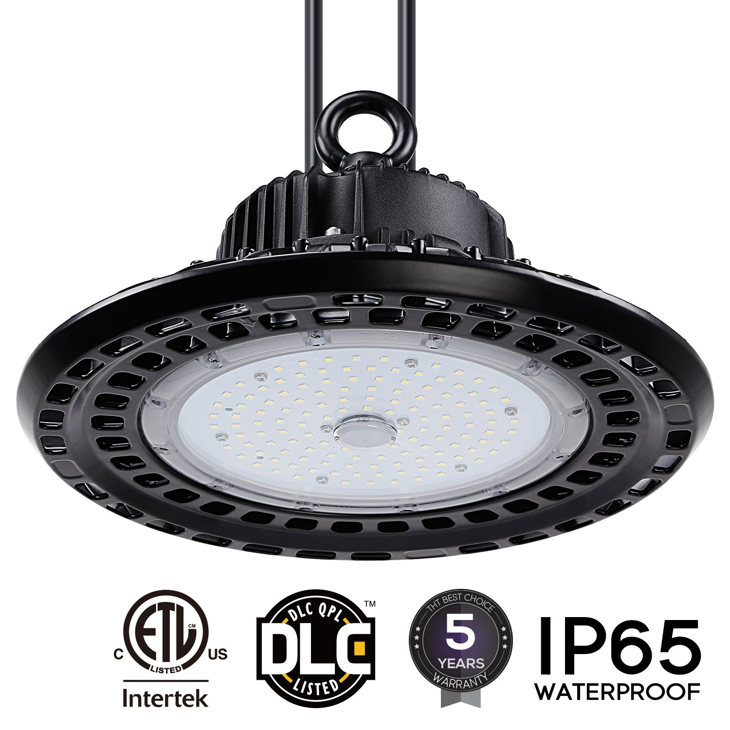 LEONLITE LED UFO High Bay Light, 14,300lm Ultra Bright, 100W (400W MHL/HID Equiv.), ETL & DLC Listed, Commercial/Industrial Professional Lighting, 5 Years Warranty