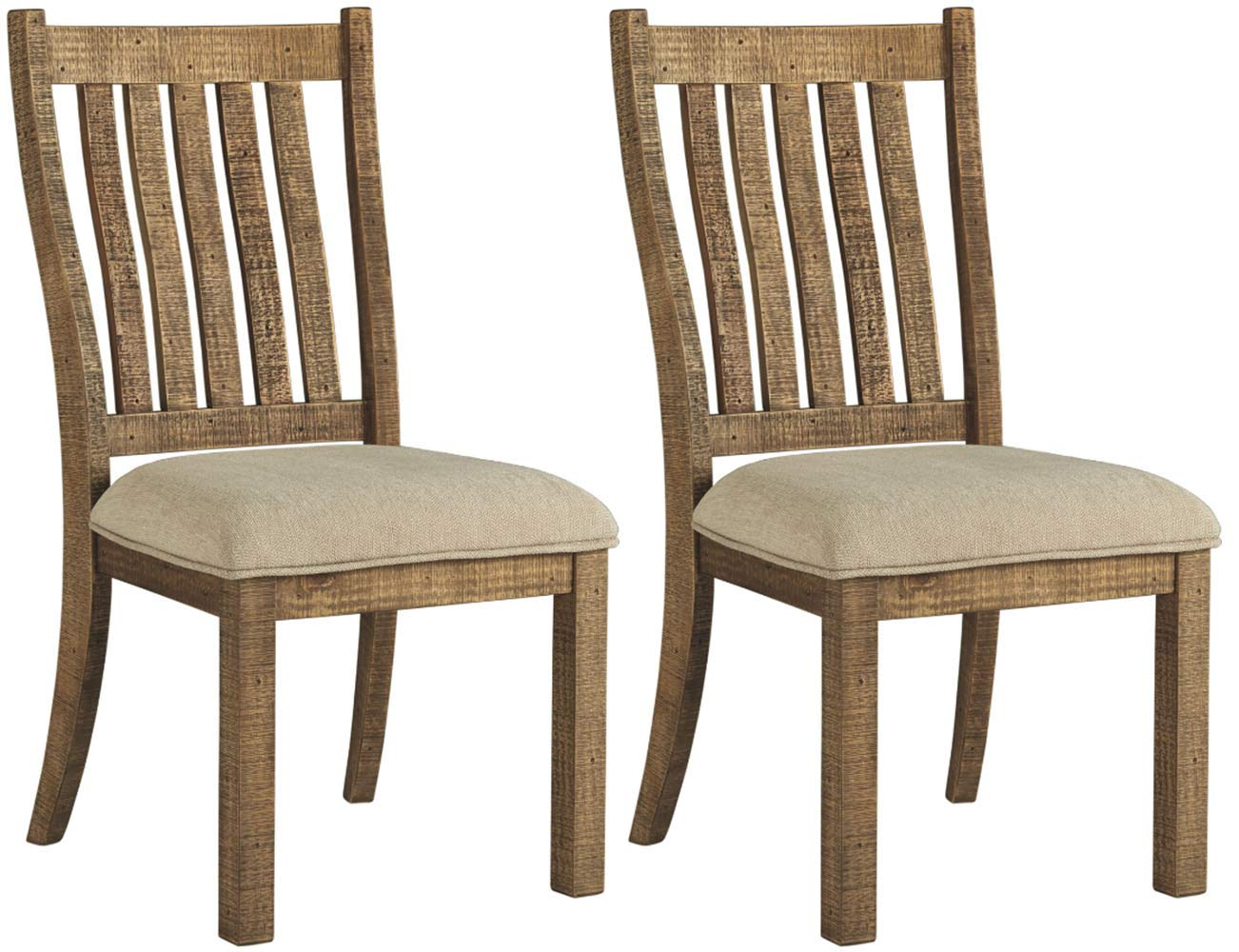 Signature Design By Ashley – Grindleburg Dining Upholstered Side Chair – Set of 2 – Casual Style – White Light Brown