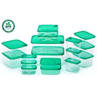 GXABK 34-Piece Food Storage Containers with Lids, BPA Free, Microwave, Dishwasher and Freezer Safe (Small 7oz to Extra Large 103oz) Green