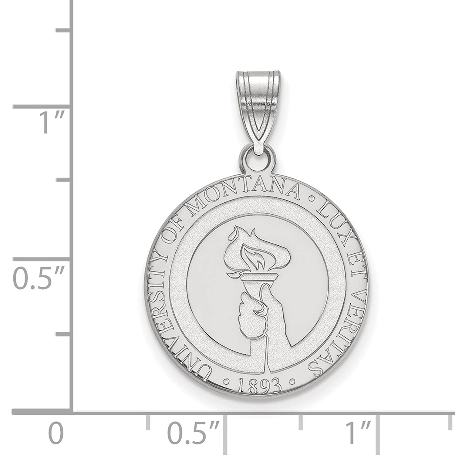 925 Sterling Silver Rhodium-plated Laser-cut University of Montana Large Crest Pendant