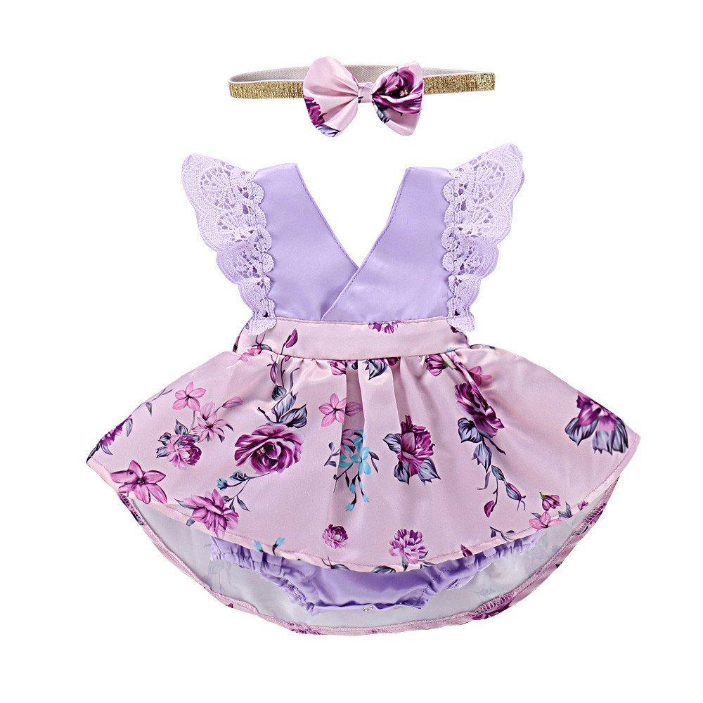 erthome Baby Mä dchen Kleider Spitze Geraffte Kleid+Stirnband Floral Sommerkleid