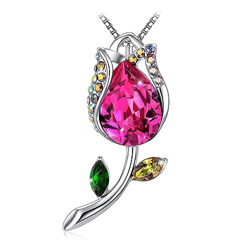 9d537d87177c TOJEAN 'Flor de la Felicidad' Colgantes Mujer Collar, Fabricados con  Cristales Swarovski, Regalo Romantico
