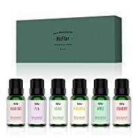 Fruity Fragrance Oils, MitFlor Summer Fruit Essential Oils Set, Aromatherapy Gift Kit for Diffuser, Candles Soap Making, Guava, Strawberry, Passion Fruit, Apple, Fig, Pineapple Scented Oils, 6 x 10ml