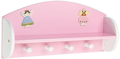Zeller 13448 Princess - Estante con Perchero Infantil de Tablero DM (48 x 12 x 23,5 cm), Color Rosa