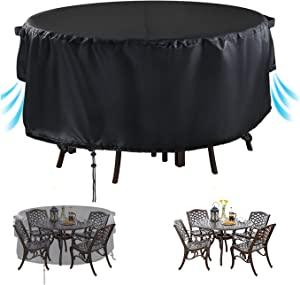 Iptienda Round Patio Furniture Set Covers,Outdoor 420D Oxford Waterproof Heavy Duty Large Dining Table and Chairs Set Cover for Garden Patio Round Rattan Table Covers(Water Resistance,60x23 inch)