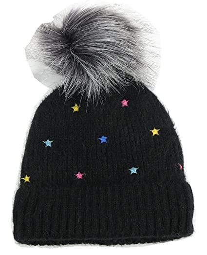 ce76500848f Amazon.com  S Forever Kids Fleece-Lined Cable-Knit Beanie Hat Pom ...