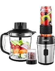 Aicok Blender Smoothie, 700W Mixeur Multifonctionnel 4 en 1 avec Tasse de Broyeur 200ml, Hachoir de 1200ml,TassePortablede570ml, pour Smoothies/Milk-Shake & Moulin à Café/Graines/Poivre/Épices