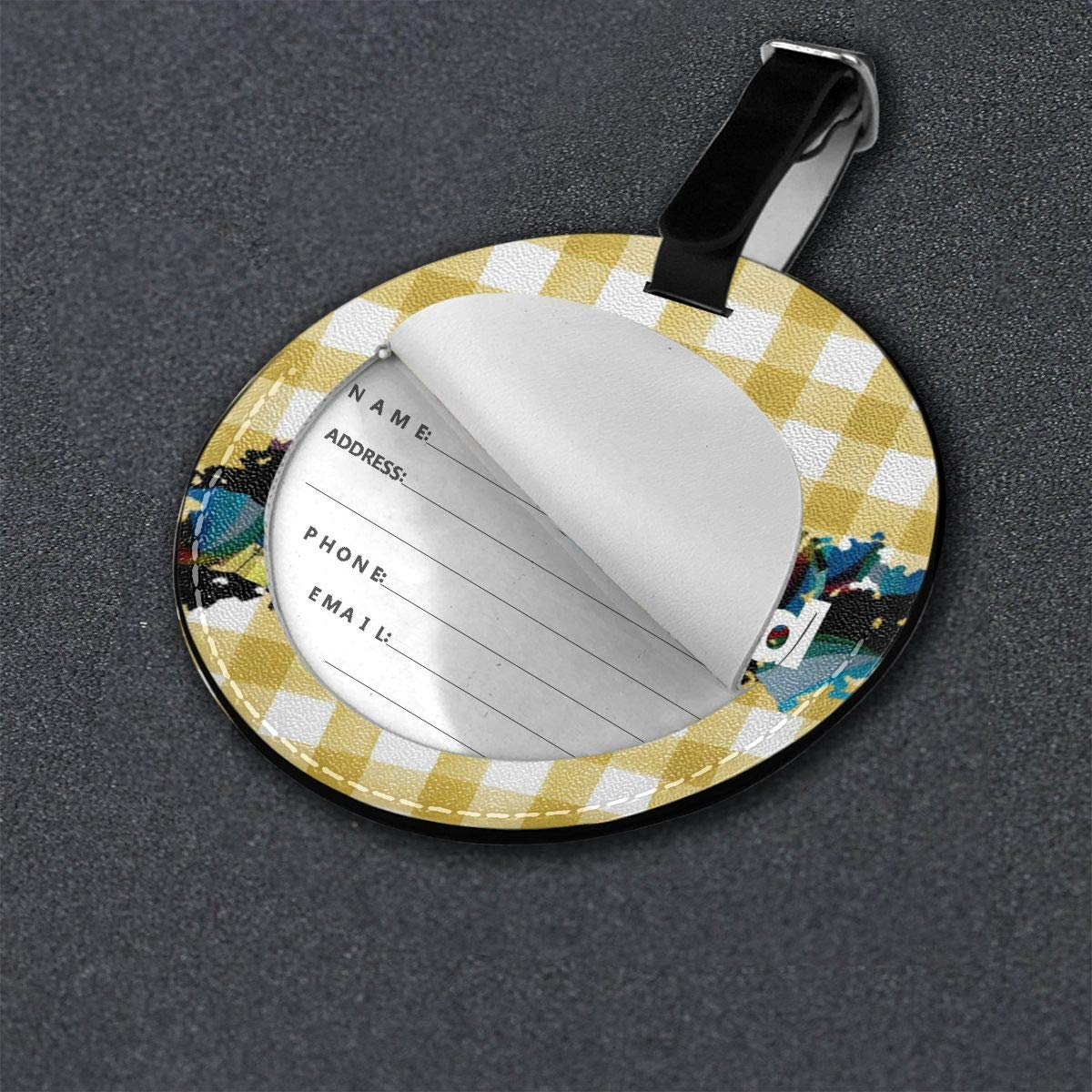 ELEANORSIMPSON Above and Beyond PU Leather Round Luggage Tags Business Card Holder