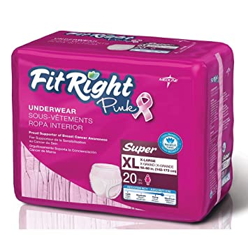 FitRight Pink Underwear for Women, X-Large, Cs/80 (4/