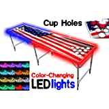 8-Foot Beer Pong Table w/ OPTIONAL Cup Holes & LED Color-Changing Glow Lights - 11 Table Designs Available
