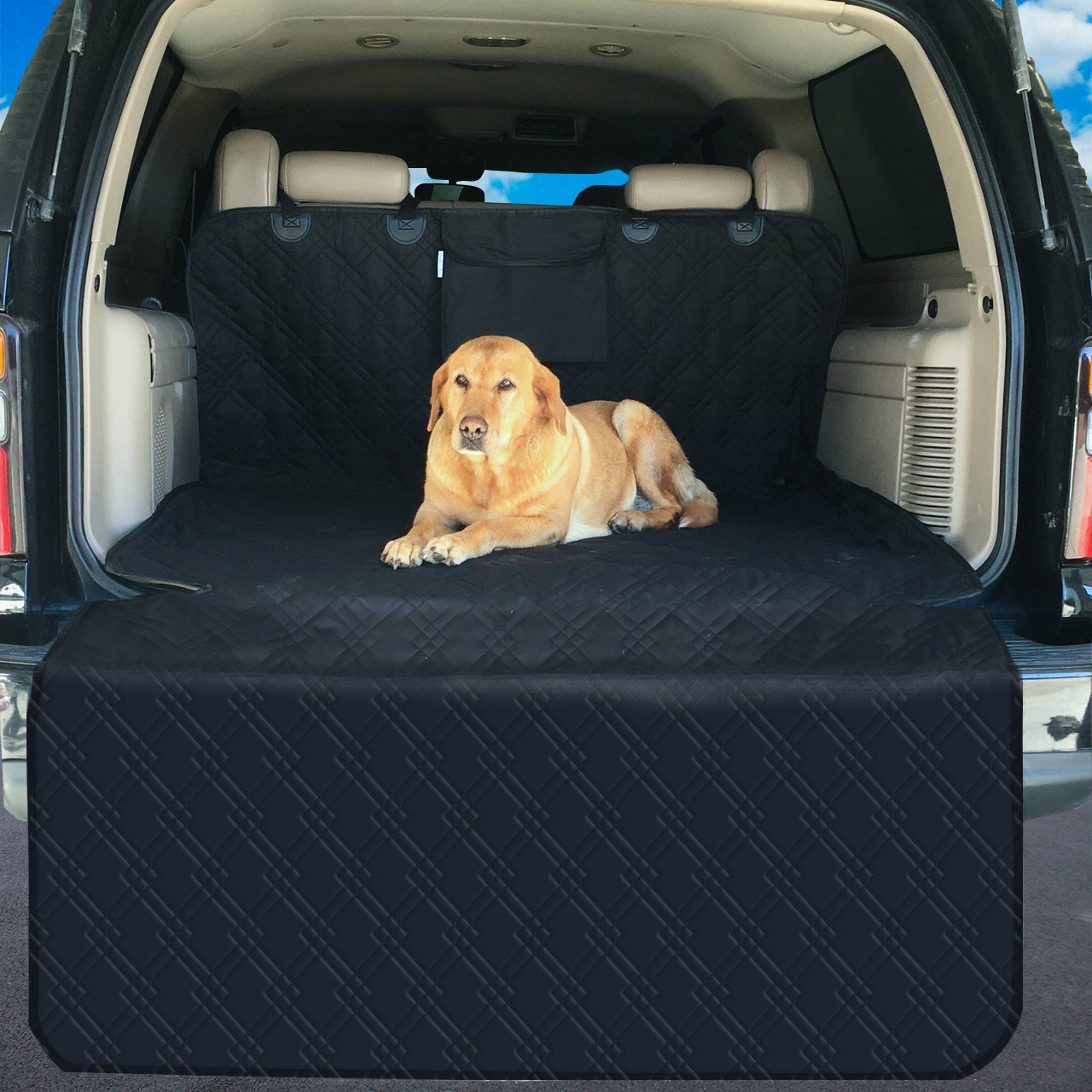 SUV Cargo Liner with Large Storage Pocket, Premium, Waterproof, Washable, Non Slip Backing, Dog SUV Mat, Large SUV Seat Covers with Bumper Flap, Deluxe Quilting, Universal Fit
