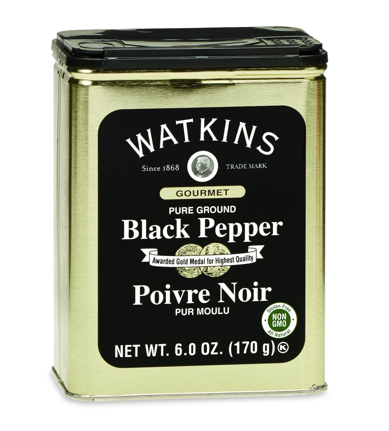 Watkins Gourmet Spice Tin, Pure Ground Black Pepper, 6 oz. Tin, 1-Pack