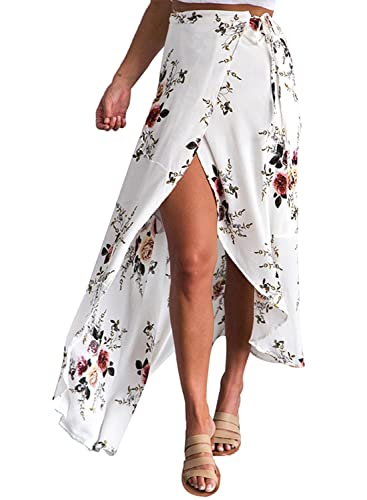 Azbro Mujer Casual Falda Irregular Estampado Floral Abertura Alta