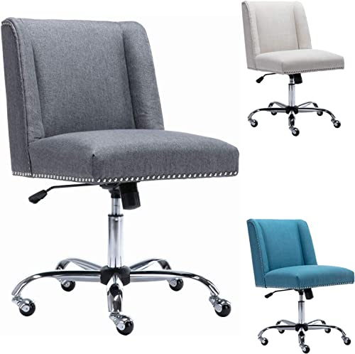 CIMOTA Home Office Desk Chair Upholstered Armless Task Chair Comfortable Mid Back Swivel Chair
