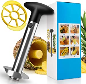 Pineapple Corer and Slicer, [Upgraded] Thicker 304 Stainless Steel Pineapple Cutter/Peeler with Wedger, Professional Pineapple Core Remover Tool