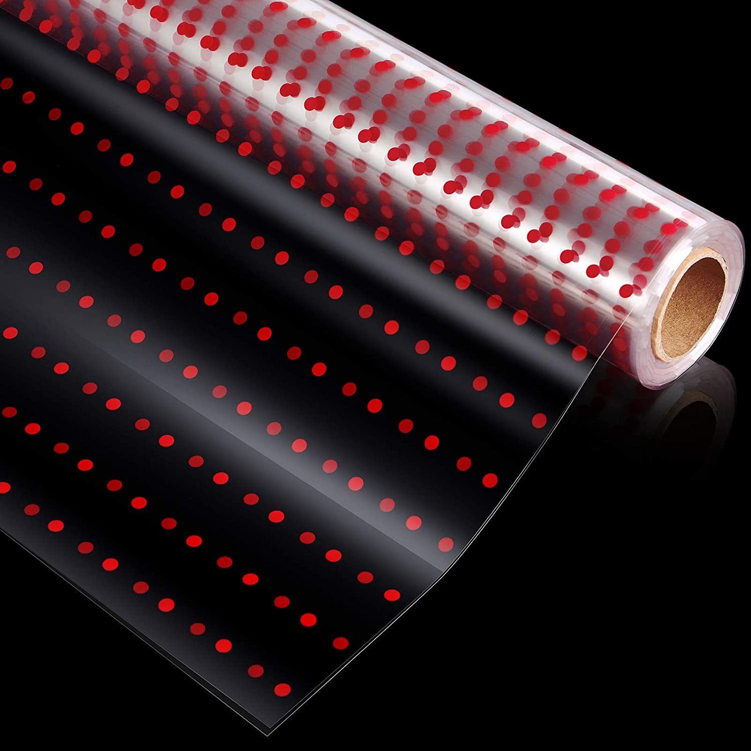 STOBOK Cellophane Wrap Roll | Unfolded Width 32 inch x 100 Ft,Red Polk Dot Paper Wrapper,3 Mil Thicken Transparent Long Film Gift Wrappings for Flowers,Bouquet,Basket,Food Packing Paper