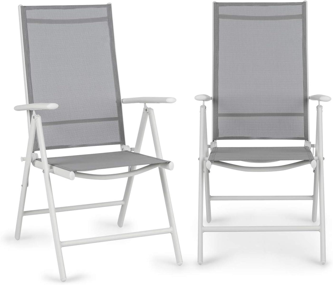 Blumfeldt Almeria Garden Chair - Dos sillas de jardín, Plegables, Estructura Aluminio, Protección Pintura en Polvo, Tela 2x2 MTS. de Secado rápido, Respaldo 7 Posiciones, Blanco/Gris Claro