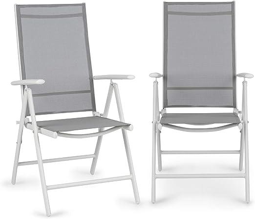 Blumfeldt Almeria Garden Chair - Dos sillas de jardín, Plegables, Estructura Aluminio, Protección Pintura en Polvo, Tela 2x2 MTS. de Secado rápido, Respaldo 7 Posiciones, Blanco/Gris Claro: Amazon.es: Jardín