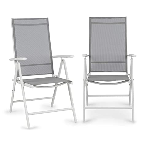 Blumfeldt Almeria Garden Chair - Dos sillas de jardín , Plegables , Estructura Aluminio , Protección Pintura en Polvo , Tela 2x2 MTS. de Secado rápido ...