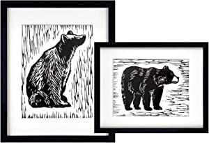 BEZALEL Unframed Black Bear Art Prints - 8x10 Inches Balck and White Bear Wall Artwork Painting for Bedroom, Guestroom, Studio - Lodge, Cabin Bear Pictures Decor Set of 2