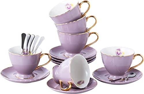 Jusalpha Porcelain Coffee Bar Espresso Cups and Saucers