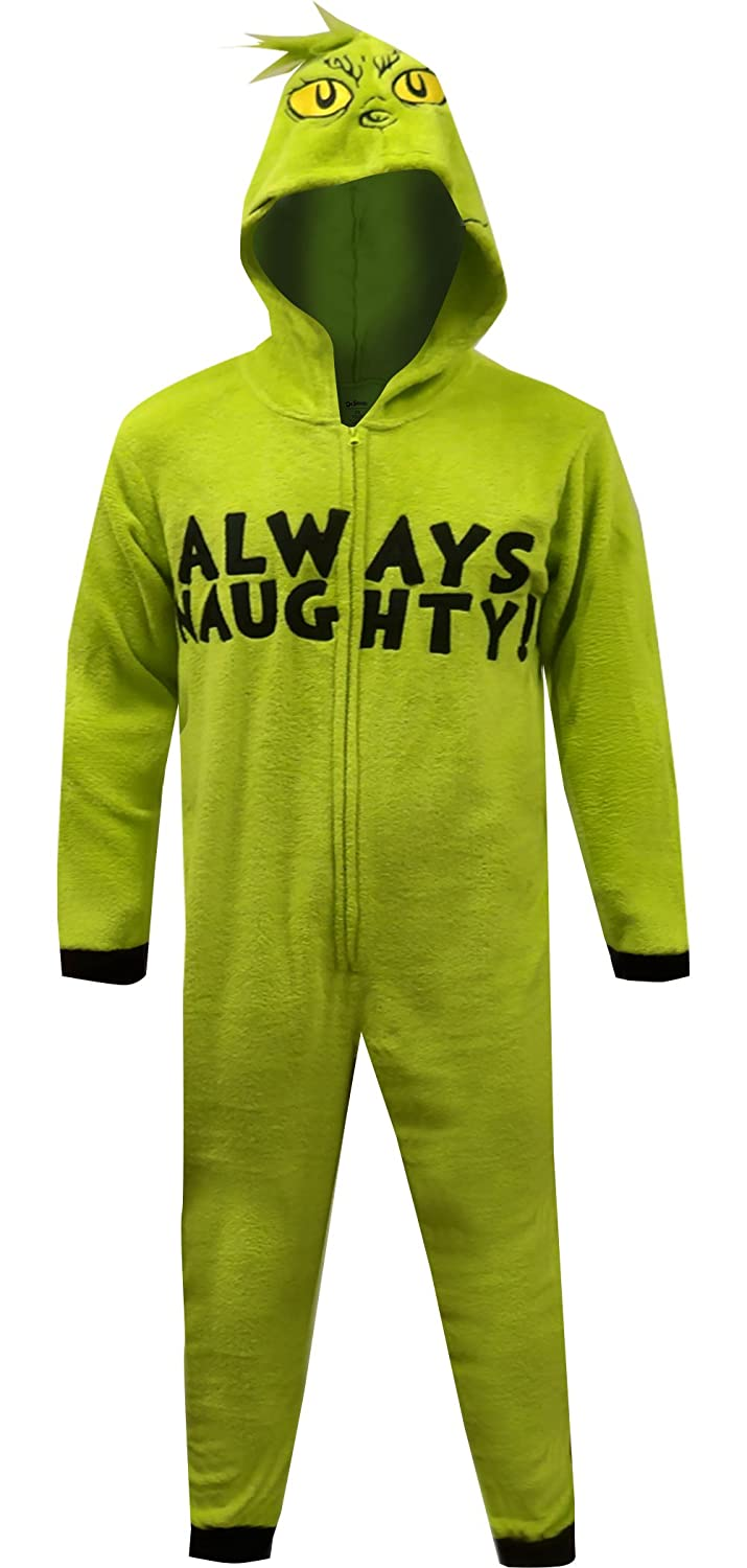 MJC Men's Dr Seuss Grinch Always Naughty One Piece Pajama MF17040US