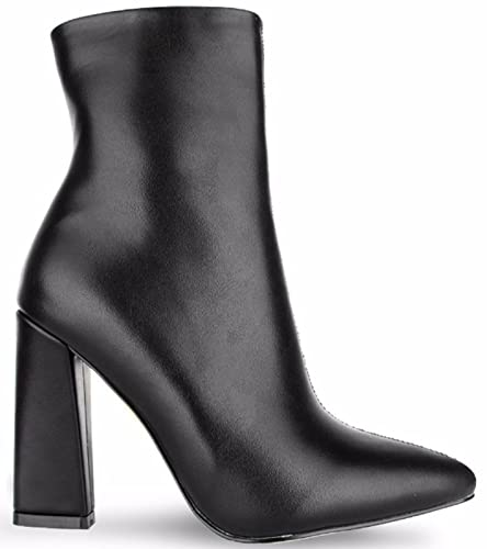 dcf033f4ceb Taylor-Unikue Womens Ladies Slim Sock Fit High Shaped Block Heel Ankle  Boots Pointed Shoes
