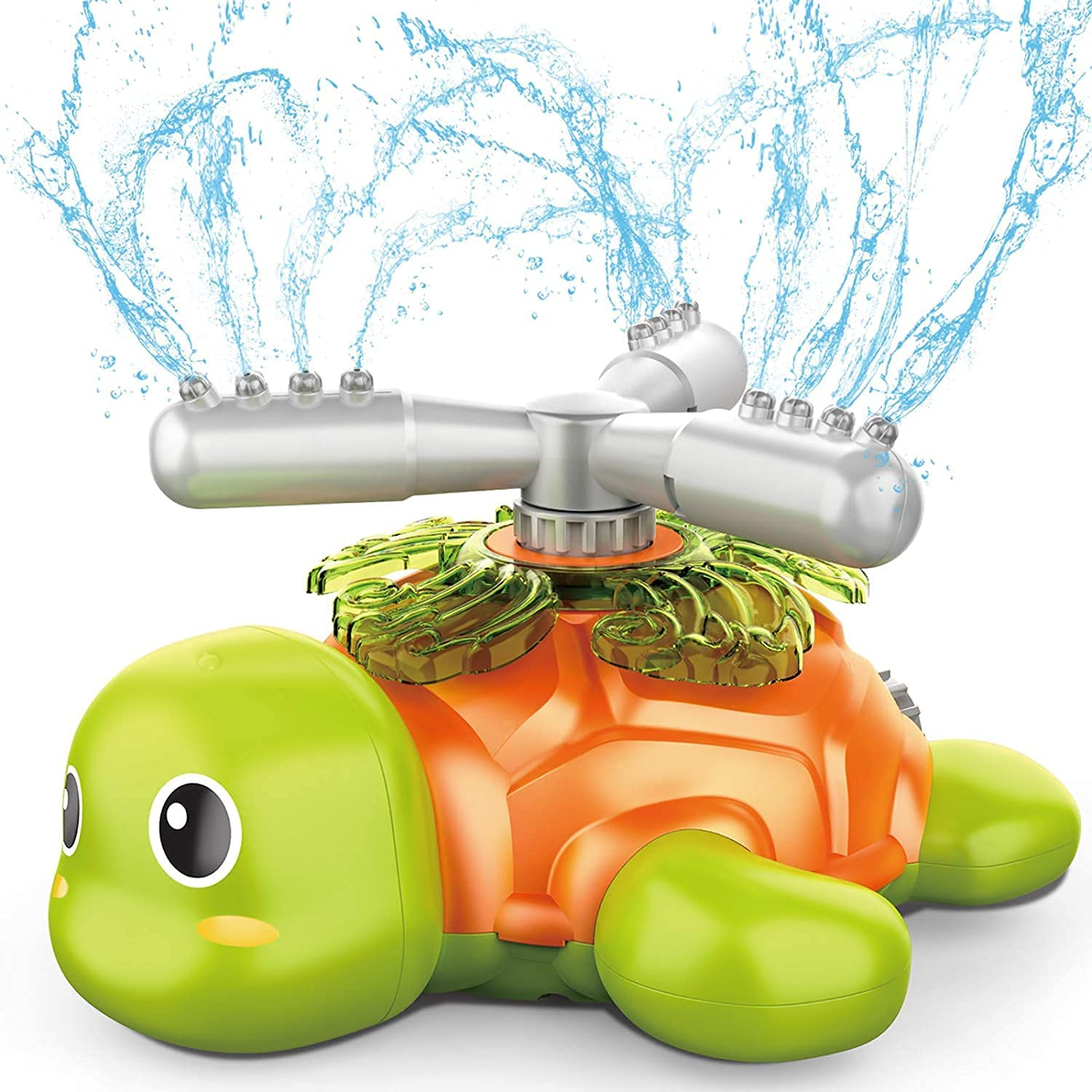 KQL Outdoor Sprinklers for Children and Toddlers, Rotating Tortoise Sprinklers in The Backyard with Swinging Hose Toys, Outdoor Water Splashing Fun in Summer, Spraying Garden Hoses Up to 8 Feet High