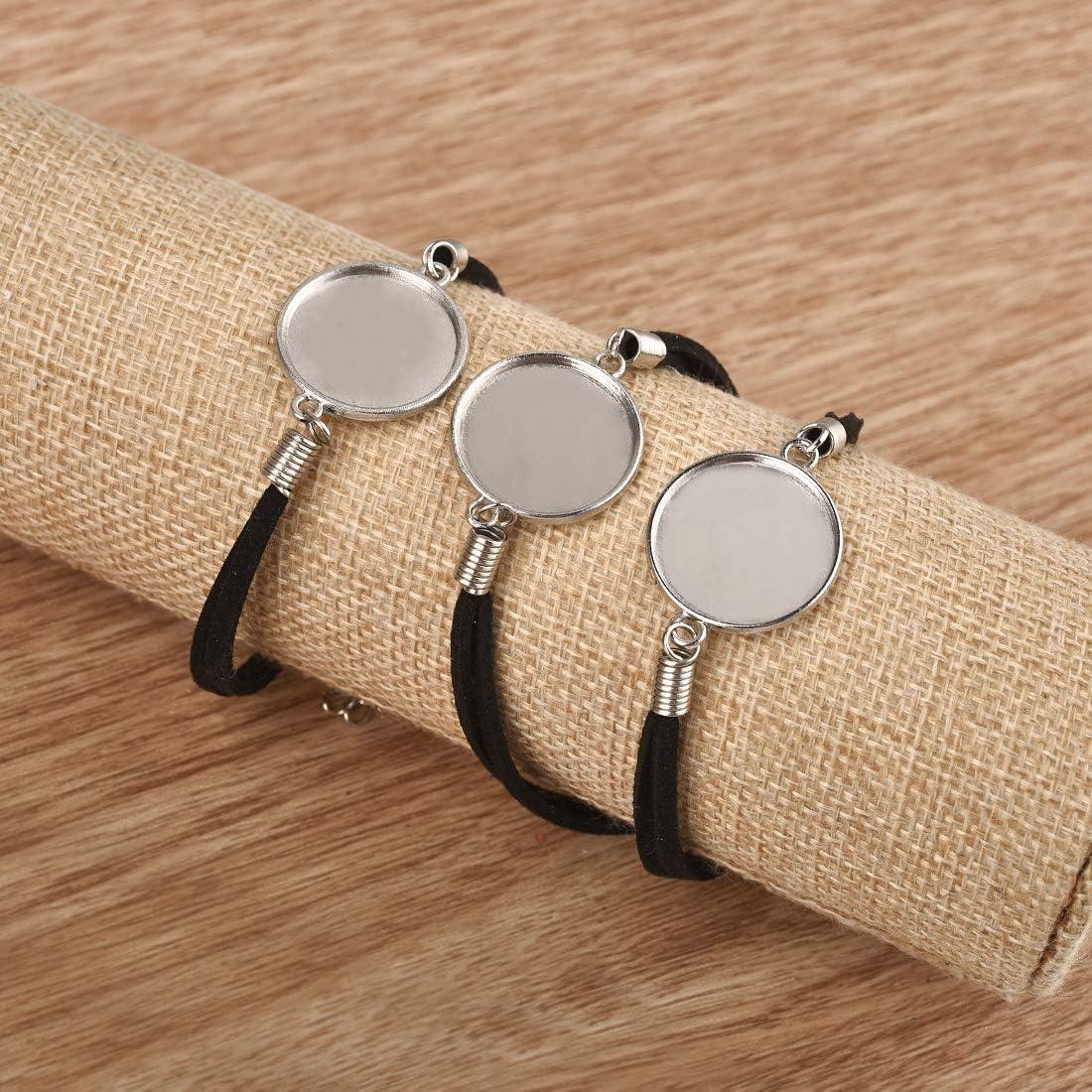 DROLE 40Pcs 25mm Adjustable Leather Cabochon Bracelet Blanks Set-20Pcs Bracelet Bezel for Jewelry Making and 20Pcs 25mm Transparent Glass Dome Cabochon for Bracelet Making Multi-25mm C