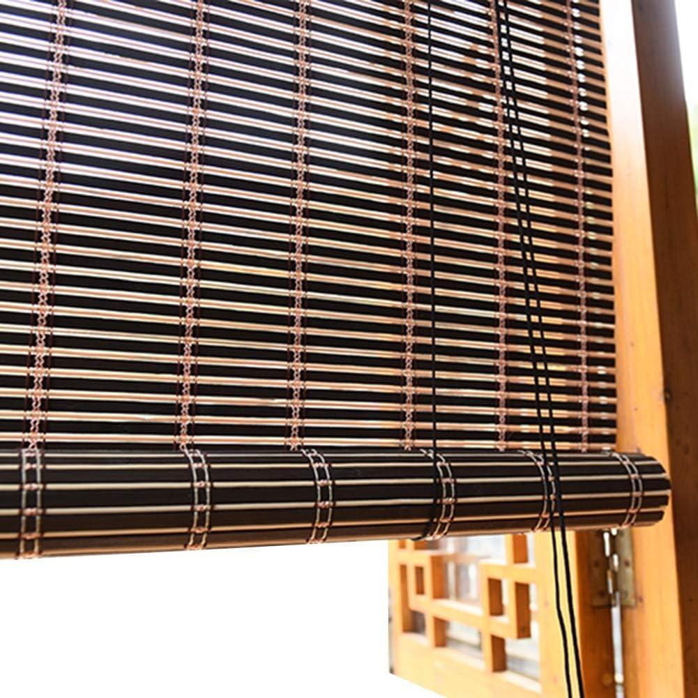 JLXJ Hogar y Cocina Persianas Opacas, Lamas de Bambú Marrón Oscuro Cortinas Verticales Enrollables de Luz Solar para Puertas de Guardería Hotel Gazebo, 60cm / 90cm / 110cm / 135cm de Ancho: