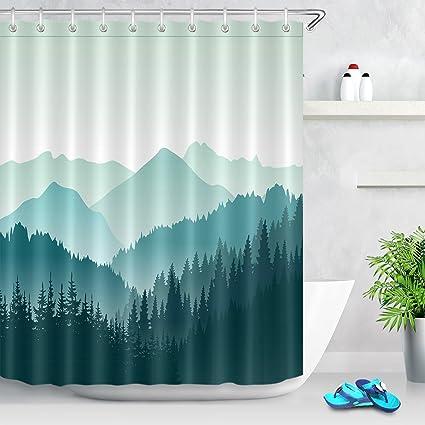 LB Simple Design Mountain Pine Woods Shower Curtain Set Nature Forest Scene Bathroom Decor