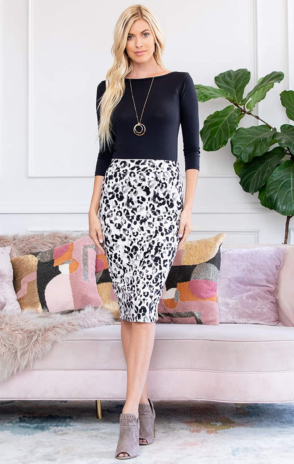 High Waist Soft Stretch Jersey Slim Fit Casual Office Skirt Floral Leopard Feather Printed Pencil Skirt