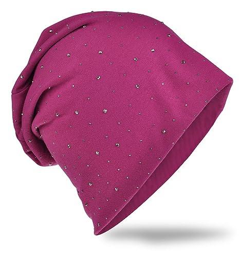 Jersey Slouch Beanie Long–Berretto con elegante strass borchie applicazione Unisex Uni colore: Uomo ...