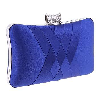 Baoblaze Bolsa de Embrague para Fiesta Boda de Novia Bolso de Mano Nupcial con Diamantes de Imitación Cartera Billetera de Mujer - Azul Real: Amazon.es: ...