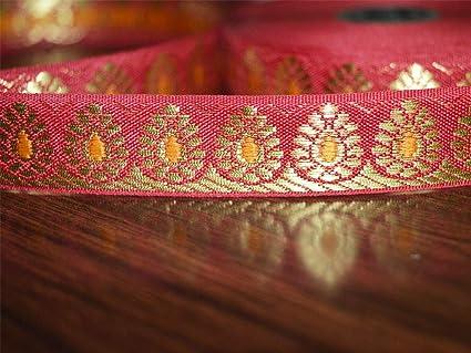 b1d139e1ebdb Amazon.com: Wholesale Dark Red Hand Loom Border with Gold Zari Trim ...
