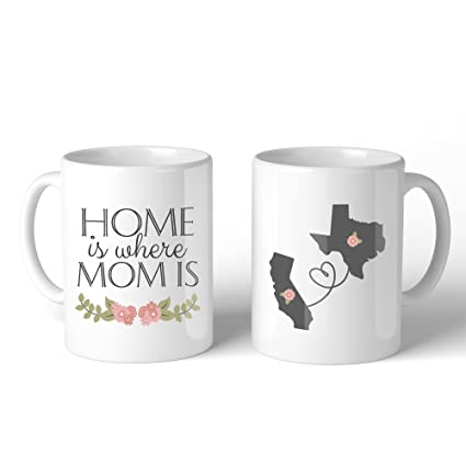 c806993048d Personalized Long Distance Relationship Ceramic Coffee Mug for Mom - Home  Is Where Mom Is