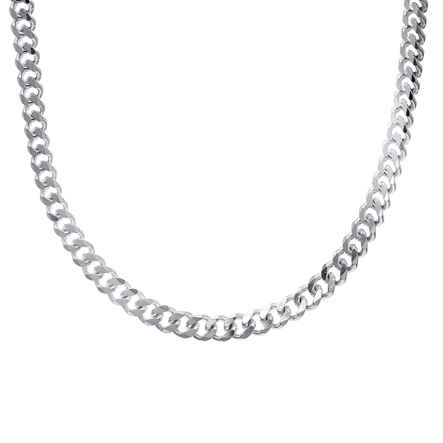 93e8ad8c82 Silverly Men's Women's .925 Sterling Silver Chunky Curb Chain 10 mm Lobster  Clasp Necklace, 46-61 cm