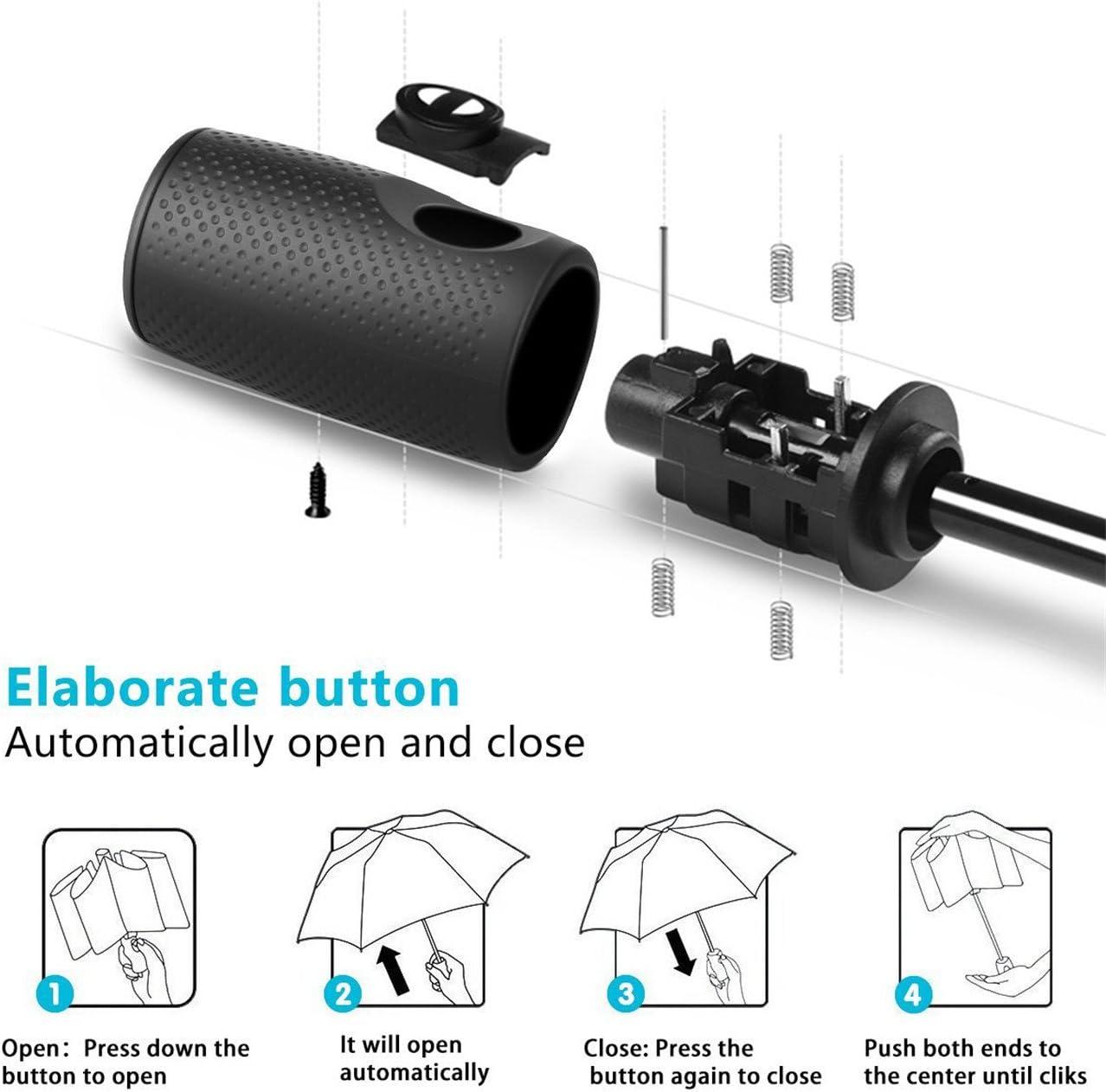 Teflon Kompakter Reise-Regenschirm automatisches /Öffnen // Schlie/ßen verst/ärkter winddichter Rahmen schnelltrocknend rutschfester Griff f/ür einfaches Tragen Grau grau Nicht zutreffend