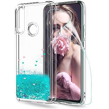LeYi Funda Huawei P Smart Z Silicona Purpurina Carcasa con HD Protectores de Pantalla, Transparente Cristal Bumper Telefono Gel TPU Fundas Case Cover ...