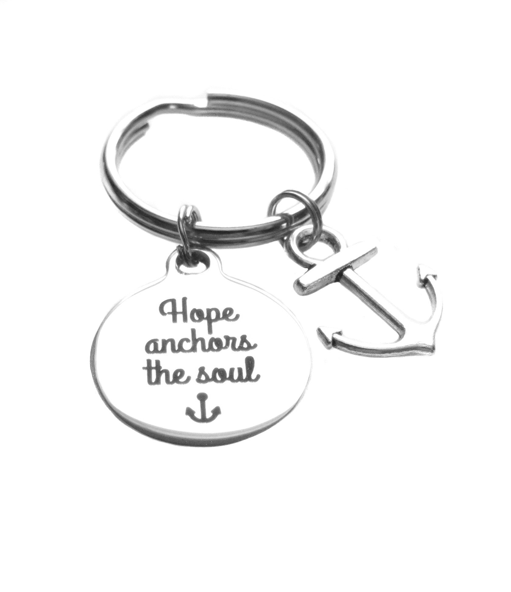 Stainless Steel ''Hope Anchors the Soul'' and Anchor Charms Keychain, Inspirational Gift