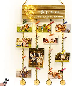 Hsuner This is Us Wall Decor Signs New Home Gifts - Hanging Photo Display Board with Heart-Shaped Remote Fairy Lights for Family Wall Art Living Room Decor, Housewarming Gifts for Couples Home Decor