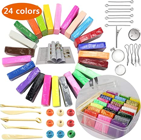 Polymer Clay 46 Blocks Colored Modeling Clay DIY Soft Craft Clay Set w// Modeling