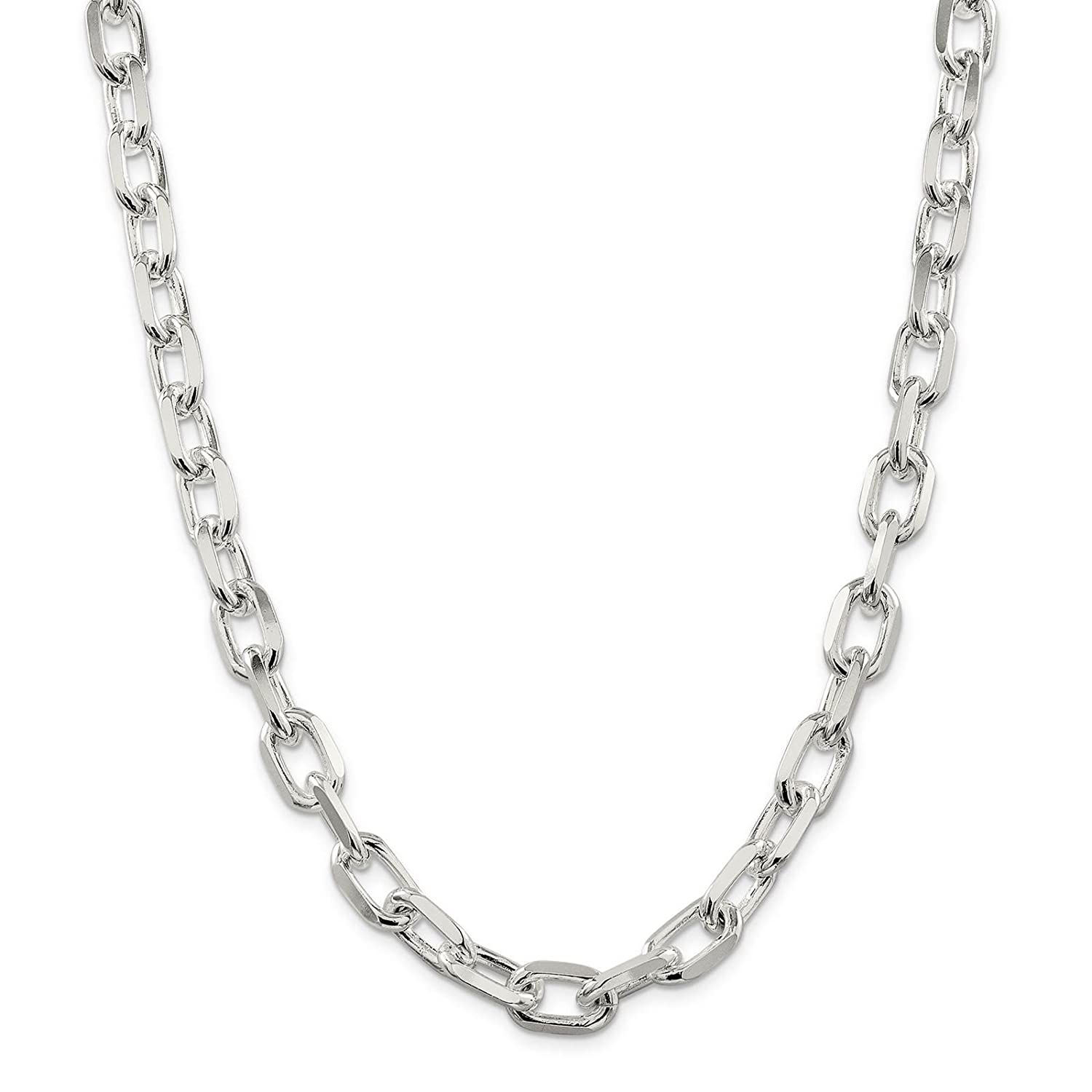 925 Sterling Silver 11.5mm Diamond-Cut Open Link Cable Chain Necklace 7-24