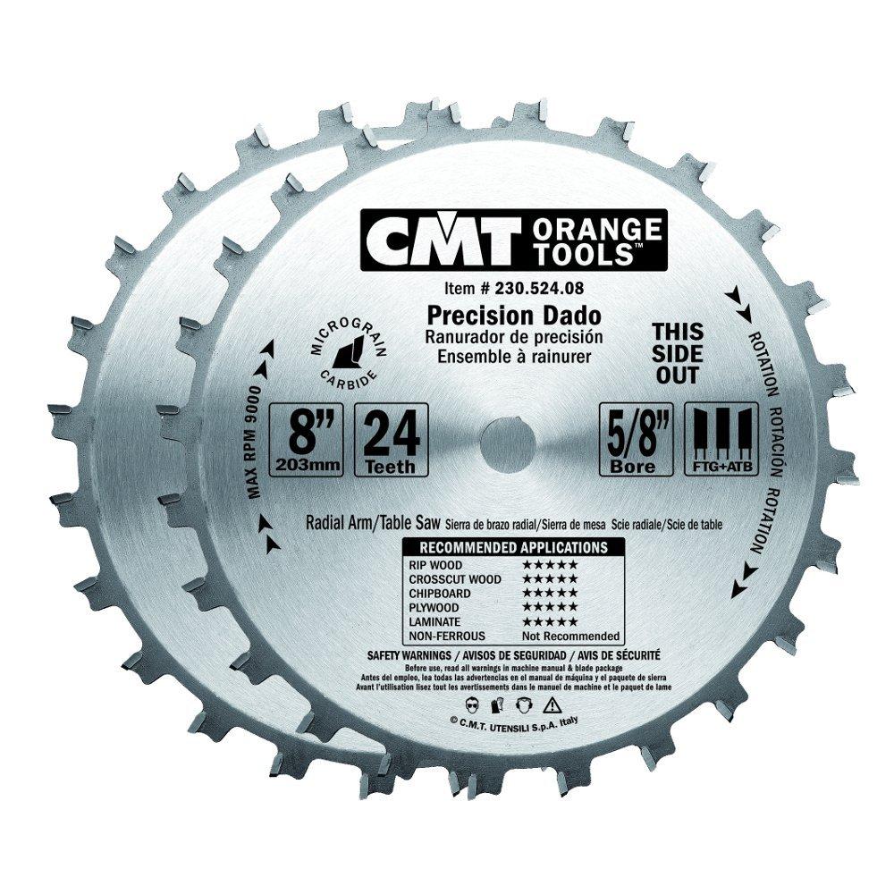 CMT 230.524.08 Precision Dado Set, 8-Inch X 24 Teeth FTG+ATB Grind with 5/8-Inch. Bore by CMT