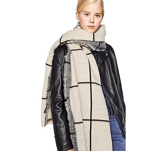 Las señoras de otoño e invierno elegantes bufandas de cachemira señora clásica de doble cara a cuadr...