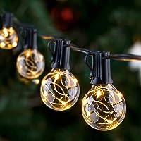 GlobaLink Lichtketting voor buiten, 11,7 m, G40 lichtketting, gloeilampen, tuin, lichtketting, terras, waterdicht, IP65…